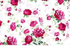 ~ [FQ] Classic Crimson Red Carnation Flower Style on White 100% Cotton Fabric ~