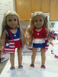 American Girl Julie and Caroline in moms crochet