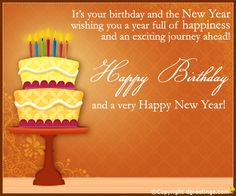 dgreetings say happy birthday and a joyous new year by this card