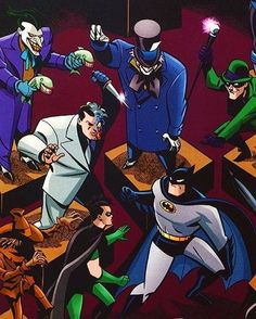 Batman and Robin vs Joker, Two-Face, Riddler, and Mad-Hatter Joker Batman, Batman Art, Batman And Superman, Batman Robin, Robin Comics, Batman Stuff, Bruce Timm, Star Trek, Gotham Villains