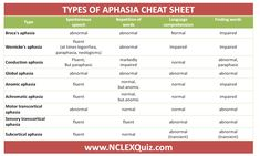 Clear Description of Aphasia Types Cheat Sheet