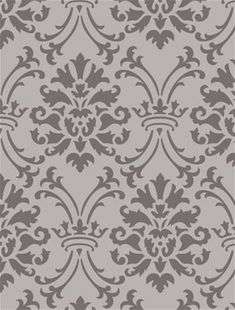 """Create a classice, elegant damask wall paper pattern. The overall size of the design as shown is x . One """"damask"""" measures 15 H x W. It is laser cut out of 5 mil plastic or you can choose 10 mil plastic for textural uses or a more durable stencil. Damask Wall Stencils, Wall Stencil Designs, Damask Decor, Wall Stencil Patterns, Wall Design, Nursery Themes, Pattern Paper, Designs To Draw, Textures Patterns"""
