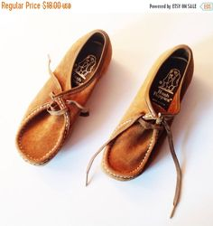 Vintage Hush Puppies Vintage Kids Shoes Moccasins by lakeviewgoods