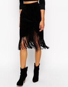 Fringe hem skirts to buy now: Wrap Pencil Skirt in Suede With Fringing, $137.57; at ASOS
