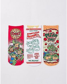 Pizza Party No Show Ankle Sock 3 Pair - TMNT - Spencer's