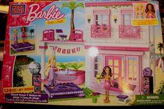 BARBIE MEGA BLOKS Beach House-129 Pieces-Catalog #80226-Has Barbie & Nikki (NIB) #MegaBloks