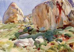The Simplon. Large Rocks, John Singer Sargent    Medium: pencil, watercolor, paper