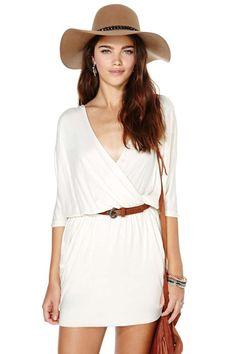 Draped Across Dress - Cream