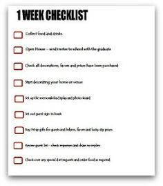 graduation party planning 1 week checklist