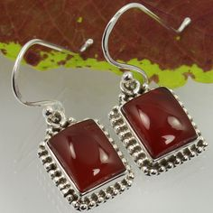 925 Sterling Silver Real CARNELIAN Rectangle Gemstones Indian Artisan Earrings…