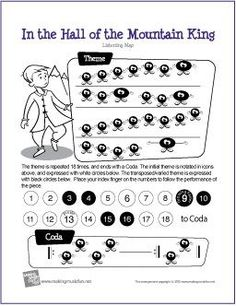 In the Hall of the Mountain King - Free Printable Listening Map (Digital Print) Music Games, Music Activities, Music Music, Sheet Music, Elementary Music Lessons, Halloween Music, Music Lesson Plans, Music Worksheets, Music Classroom