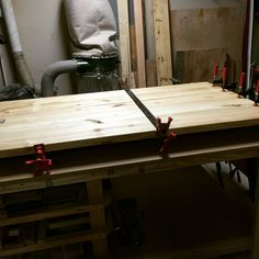 Table top glued and clamped, will be ready in the morning. #wood #woodworking #shop #woodshop #table #furniture