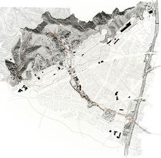 In flow - Carles Enrich Studio Site Analysis Architecture, Architecture Mapping, Architecture Graphics, Architecture Portfolio, Residential Architecture, Landscape Diagram, Urban Landscape, Context Map, Map Diagram