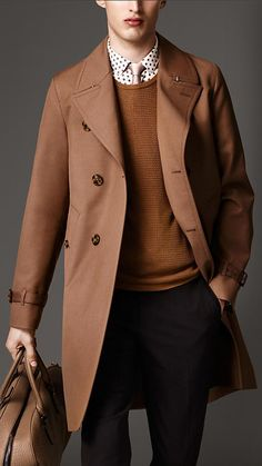 $1,995, Brown Overcoat: Burberry Long Cotton Bonded Wool Mohair Trench Coat. Sold by Burberry. Click for more info: https://lookastic.com/men/shop_items/27691/redirect