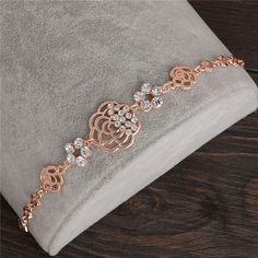 ZOSHI Fashion Bracelets 18K Rose Gold Plated Chain Link Bracelet for Women Ladies Crystal Flower Jewelry Gift Wholesale Price