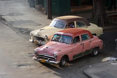 two old cars In havana, cuba