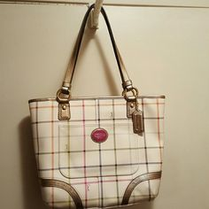 """Authentic Coach Handbag Coach Peyton Tattersall Tote Style 13 1/2 (L) x 10 1/2"""" (H) x 3 1/4"""" ( W)  inside zip, handle 8 3/4"""" drop in great condition Coach Bags Totes"""