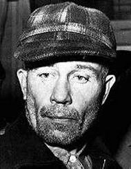 Edward Theodore Gein (August 27, 1906 – July 26, 1984), also known as The Butcher of Plainfield, was an American murderer and body snatcher. His crimes, committed around his hometown of Plainfield, Wisconsin, gathered widespread notoriety after authorities discovered that Gein had exhumed corpses from local graveyards and fashioned trophies and keepsakes from their bones and skin. He is buried next to his family in the Plainfield Cemetery, in a now unmarked grave.