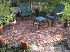 Enchanting Patterns for a Brick Patio with A Pair of Plastic Reclining Lawn Chairs from Walmart Garden Products and Bronze Finish End Tables also Small Clay Bowl Planter Pots from Backyard Patio Ideas