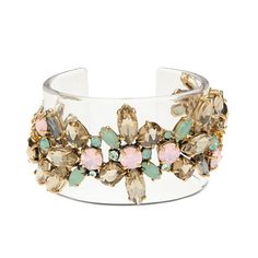Lucite stacked stone cuff Swarovski crystals and glass stones to a chunky cuff made from transparent lucite