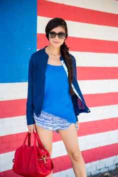 Red, White and Blue Summer Outfit - stylishlyme.com