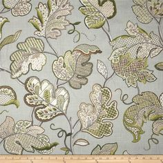 Screen printed on a linen/rayon blend this medium/heavyweight fabric is very versatile and perfect for window treatments (draperies, valances, curtains, and swags), toss pillows and upholstery. Colors include light brown, olive, ivory, and shades of grey.