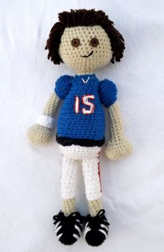 Handmade Crochet Football Man Doll. 15 inches tall.