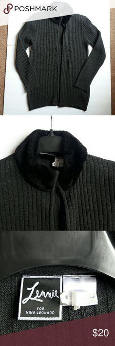 Grey sweater Grey ribbed sweater with zipper and black faux collar. Item has been dry cleaned. Sweaters Cardigans