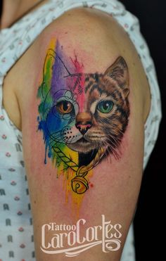 WATERCOLOR CAT - GATO ACUARELADA Caro cortes Colombian tattoo artist. carocortes.tumblr.com  www.carocortes.com/ #cat #watercolor #gato #acuarelado #tattoo #tatuaje #carocortes #female #artist #tatuadora