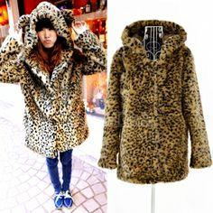 Korean Fashion Women's Girl Cute Leopard grain Hoodie Coat Jacket Outwear. WANT THAT SO BAD!!!