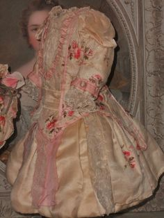 Stunning French Silk BeBe Costume with Bonnet like Jumeau Gown