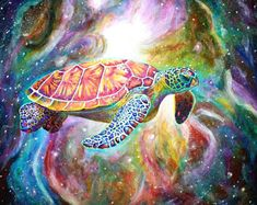 Psychedelic canvas print turtle in space painting 3 Canvas Paintings, Acrylic Painting Canvas, Original Paintings, Canvas Prints, Art Prints, Surrealism Painting, Pop Surrealism, Space Painting, Trippy Painting