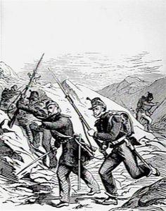 Uit de collectie van het Katholiek Documentatie Centrum. De Machabeeers van het nieuwe verbond strijdend tegen Garibaldi (1)De gevechten te Bagnera en Monte-Librettiuit: De Katholieke Illustratie 1867 (Eerste jaargang)