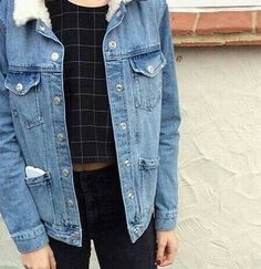 denim jacket, black top, black jeans