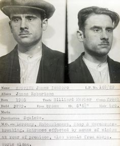 James Isadore Epstine - Mugshot from a police identification book believed to be from the recorded in the Newcastle upon Tyne area. Mafia, Forensic Photography, War Photography, Celebrity Mugshots, Vintage Magazine, Haunting Photos, Public Records, Man In Love, Mug Shots