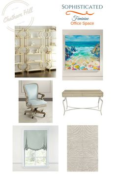Sophisticated and Feminine Office Space styled by Debbie at Your Home Your Happy Place. Some items have sold out, but click for the art! affiliate