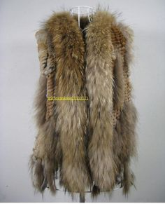 Knit real rabbit fur vest gilet with raccoon fur collar coat Fur Collar Coat, Fur Collars, Fur Coat, Rabbit Fur Vest, Fox Fabric, Fur Gilet, Fabulous Furs, Fashion Story, Knitting