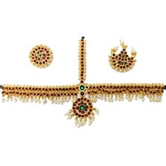 Kemp Forehead Set with pearls for Children. Indian dance jewelry USA