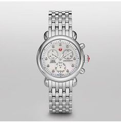 Signature CSX-36 Non-Diamond, Diamond Dial  The mother of pearl dial on the Signature CSX-36 timepiece now sparkles with diamond markers. Signature touches like the red Michele logo and crown make  this watch effortlessly chic. The stainless steel bracelet is interchangeable with any 18mm Michele strap.