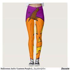 Halloween Jack o' Lantern Purple Leggings
