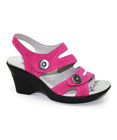 Take a look at this Fuchsia Mira Leather Snake Wedge by DROMEDARIS on #zulily today!