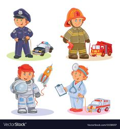 Buy Set of Small Children Icons by vectorpocket on GraphicRiver. Set of vector icons of small children police, firefighter, astronaut, doctor with their vehicles Boy Cartoon Characters, Cartoon Kids, Vector Icons, Vector Free, Books For Boys, School Decorations, Children's Book Illustration, Cute Designs, Firefighter