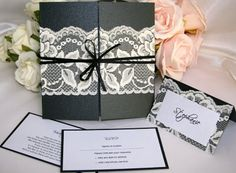Black wedding invitation with white lace - simple but beautiful!