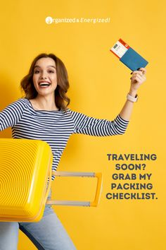 Traveling can be fun and easy when you pack the right clothing. Click here to download your free travel packing checklist. #OrganizedandEnergized #AddSpaceToYourLife #travel #checklist