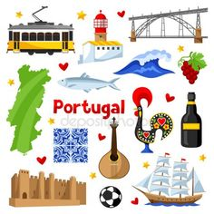 Conjunto de ícones de Portugal. Objetos e símbolos tradicionais nacionais portuguesas — Vetor de Stock