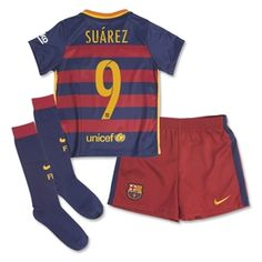 Barcelona 15/16 SUAREZ Little Boys Home Kit - WorldSoccerShop.com