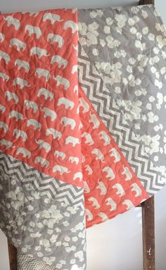 Baby Girl Quilt, Modern, Organic, Toddler,Mod Basics, Ellie Family, Gray Chevron, Coral, Gray, Cream, Elephant, Birds, Poppies on Etsy, $128.00