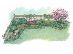 Eplans Landscape Plan: This appealing border is designed especially for a backyard that needs to be enclosed by a privacy fence. Here, the designer chooses a handsome fence to define the property line and provide screening, w