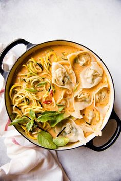 Red Curry Wonton Soup with Zucchini Noodles (Vegetarian) & pillowy tofu wontons are served with a bright and creamy red curry broth. The post Red Curry Wonton Soup with Zucchini Noodles appeared first on Food Monster. Asian Noodle Recipes, Zucchini Noodle Recipes, Zucchini Noodles, Asian Recipes, Zucchini Curry, Chinese Recipes, Soup Recipes, Vegetarian Recipes, Cooking Recipes