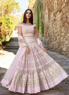 Light Pink Heavy Thread Embroidered Lehenga features a off shoulder net blouse, net lehenga with santoon inner and net dupatta. Embroidery work is completed with heavy thread work all over. Designer Bridal Lehenga, Bridal Lehenga Choli, Indian Lehenga, Silk Lehenga, Lehenga Blouse, Jacket Lehenga, Heavy Lehenga, Wedding Lehnga, Indian Bridal Outfits